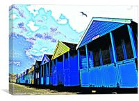 Beach huts with seagull, Canvas Print