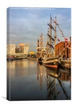Pelican and Mercedes tall ships, Canvas Print