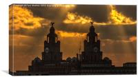 Orange sunset over the Liver Building, Canvas Print