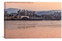 Conwy Castle and harbour at dusk, Canvas Print