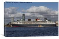 Queen Mary 2 and Dazzle Ferry, Canvas Print