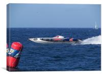 Offshore powerboat at speed, Canvas Print