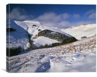 Snow covered Valley,Grindsbrook near Edale, Canvas Print