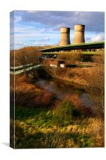 Tinsley Cooling Tower, M1 & River Don, Canvas Print