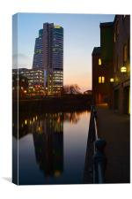 Bridgewater Place & River Aire, Leeds, Canvas Print