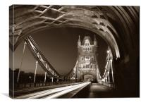 Tower Bridge London at Night, Sepia Toned, Canvas Print