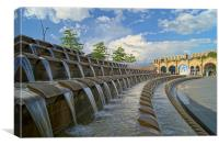 Sheaf Square Water Feature & Sheffield Station, Canvas Print