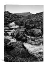 Burbage Brook & Carl Wark in Mono, Canvas Print