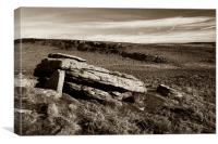 Burbage Rocks from Hathersage Moor, Canvas Print