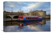 Canal Barge & Sheaf Quay House, Canvas Print