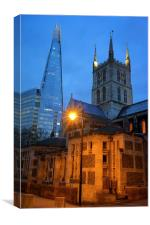 The Shard & Southwark Cathedral at Night, Canvas Print
