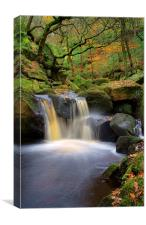 Cascading Waterfalls in Padley Gorge , Canvas Print