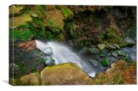Looking Down Middle Black Clough Falls , Canvas Print