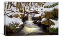 Snow in Padley Gorge , Canvas Print