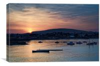 Sunset over Swanage and Purbeck Hills , Canvas Print