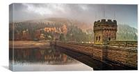 Mist over Derwent Dam , Canvas Print