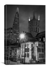 The Shard & Southwark Cathedral at Night , Canvas Print