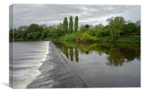 Severn Weir at Tewkesbury                         , Canvas Print