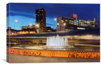 Sheaf Square Water Feature in Sheffield City Centr, Canvas Print