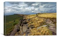 View along Stanage Edge                           , Canvas Print
