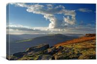 Last Light on Bamford Edge                        , Canvas Print