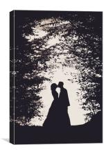 Romantic bride and groom kissing, Canvas Print