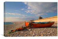 Rowing boat on Chesil Beach Dorset, Canvas Print