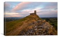 Brentor Church at sunset, Canvas Print