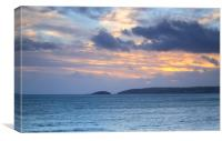 Downderry Sunset, Canvas Print