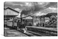 Llangollen Railway Station Mono, Canvas Print