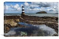 Penmon Lighthouse and rock pool, Canvas Print