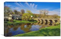 WITHYPOOL VILLAGE AND BRIDGE EXMOOR, Canvas Print