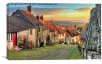 Winter Sunset Gold Hill Shaftesbury, Canvas Print