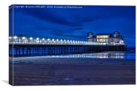 Weston Super Mare Pier At Night, Canvas Print