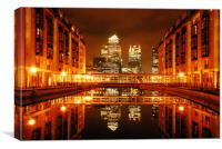 Canary Wharf, London, Evening Images, Canvas Print