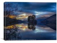 Loch Tay sunset reflections, Canvas Print