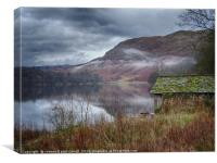 Boathouse on Grasmere Lake in winter, Canvas Print