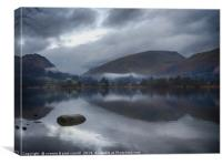 Grasmere lake with low cloud on a winter's day, Canvas Print