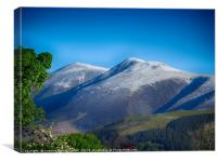 Skiddaw mountain covered in a dusting of snow , Canvas Print