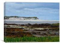 Beautiful beach and sand dunes at low tide on Uist, Canvas Print