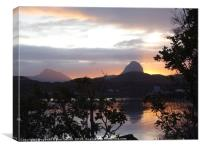 Sun rising behind Sulvien and Canisp, Lochinver, Canvas Print