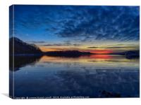 Sunset on Loch Lomond from Port Bawn, Inchcailloch, Canvas Print