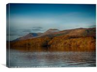Fading autumn colours on the loch under Ben Lomond, Canvas Print