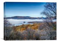 Loch Lomond in the mist from inchcailloch island, Canvas Print