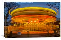 Roundabout at a fairground in London , Canvas Print