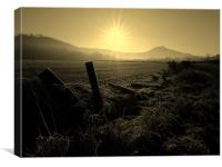 Morning glow over Roseberry topping., Canvas Print