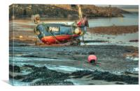 Fishing Boat At Low Tide, Canvas Print