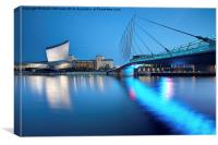 Salford Quays Media Bridge and Imperial War Museum, Canvas Print
