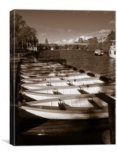 Rowing boats on river Dee, Canvas Print