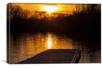 Sunset over lake from pontoon, Canvas Print